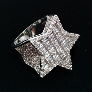Wholesale mens ring diamonds for sale - Group buy 18K Gold White Gold Mens new Bling Cubic Zirconia Pentagram Hip Hop Ring guys Full Diamond Iced Out Rapper Jewelry Gifts for Boyfriend