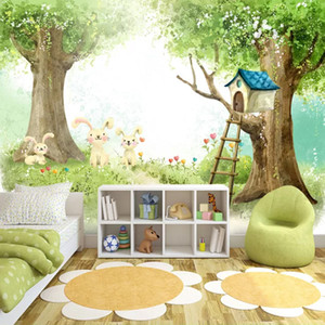 Wholesale Custom D Photo Wallpaper For Kids Cartoon Cute Children Room Bedroom Wall Painting Self adhesive Mural Wall Papers Home Decor