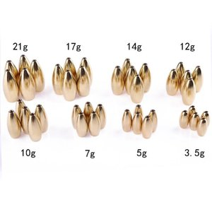 Wholesale 5pcs Fishing Texas Rigs Copper Weight Fast Sinking for Rig Sinker Bass Fishing Accessories Lead Sinkers g g