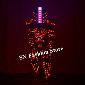 Wholesale P25 Party dance led robot suit RGB colorful light armor outfits disco wears stage show luminous clothe dj dress helmet perform party wears