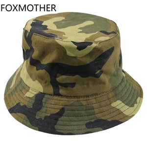 Wholesale army camo hat resale online - FOXMOTHER New Autumn Fashion Camo Gorras Casquette Army Green Camouflage Fishing Hats Bucket Caps Women Mens