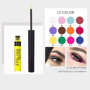 Wholesale 12 Colors Liquid Matte Makeup Eyeliner Eyeshadow Waterproof Sweatproof Long Lasting And Makeup Protecting Multicolor Free Shipping