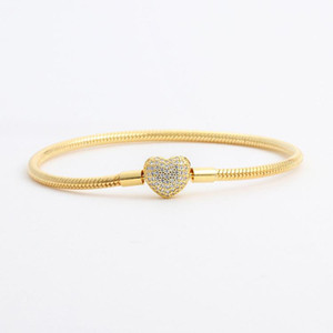Wholesale 18K Yellow Gold plated CZ Diamond Heart Bracelets Original Box Set for Pandora Silver Snake Chain Bracelet for Women Wedding Jewelry