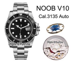 2019 N V10 SA3135 ETA A2836 Automatic Ceramics Bezel Black Dial 904L Steel Mens Watch Best Edition Blue Hairspring Puretime Watches NV10C3.
