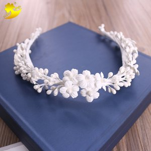 Wholesale Xinyun Custom made order Wedding Hair Accessories For Bride Handmade Bridal Hair Ornament Headpiece White Headbands Hairbands