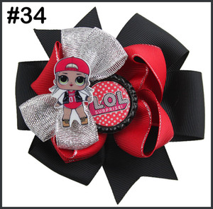 Wholesale free shipping 5pcs doll hair bows With suprise bowsDolls clips girl hair bows For Children Girl hair accessories