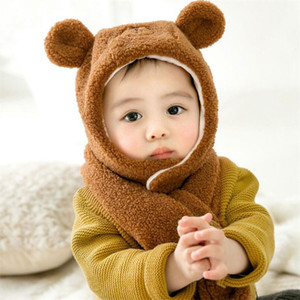 2019 Kids Winter Warm Hat And Scarf Child Short Plush Inlayer Hat Set Baby Ear Protection Cap Girl Boy Cartoon Design MZ8387