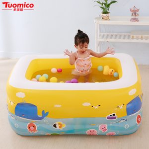 Wholesale High Quality PVC Safe Children s Home Use Paddling Pool Yellow Inflatable Square Swimming Pool Kids Basen Ogrodowy CM