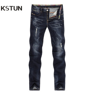 Wholesale Kstun Men s Jeans Ripped Striaght Slim Thick Dark Blue Elasticity Painted Soft Biker Jeans High Street Distressed Cowboys Pants Y19060301