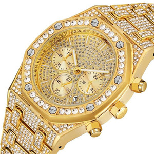 Wholesale Couple Gift Iced Out Watches Women Hip Hop Bling Diamond Mens Business Watch Stainless Steel Couple Wristwatch for Lovers Unique