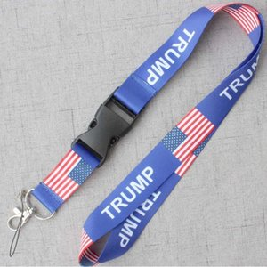 Wholesale USA TRUMP National Flag Logo Sports lanyard ID Card Neck key Chains Strings Accessory for Cell Phone Lanyard Keys Holder Strap Supply B71604
