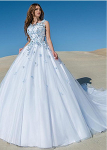 Wholesale junoesque wedding dresses for sale - Group buy Junoesque Tulle Scoop Ball Gown Light Sky Blue Wedding Dress With Lace Appliques Handmade Flowers Two Tones Blue and White Bridal Gown