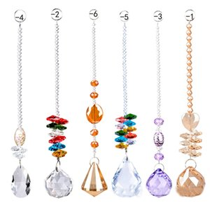 Wholesale Colorful Crystal Chandelier Lamp Lighting Drops Pendants crystal prism hanging ball Glass Prisms Parts Home Decoration