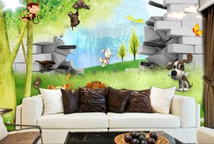 Wholesale Custom D Photo Wallpaper Mural Hand Painted D cartoon children s room background Wall Mural Living Room Home Decor Painting Wall Paper
