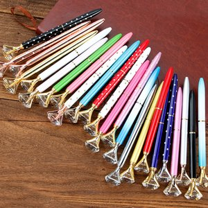 Wholesale Big Diamond Ballpoint Pen Student Rhinestone writing pens Colorful Crystal Ball point pens metal pens party suppliers gift FFA3067