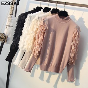 Wholesale Korean Spring Autumn Loose Flowers Mesh Lantern Sleeves Sweater Ruffled Collar Knitted Women Sweater Pullover Femme Pull Tops Y190830
