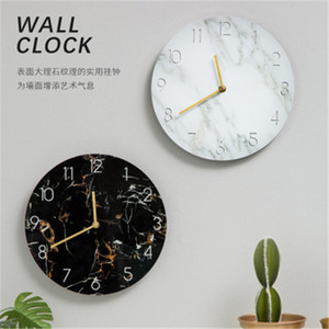 Wholesale Round Wall Clock Office Home Living Room Kitchen Marble Pattern Uv Board Digital Clock Wall Hanging Coffee Shop Modern Art