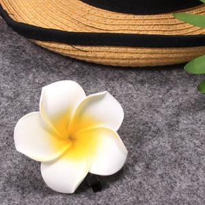 Wholesale 2Pcs Yellow Hawaiian Foam Flower White Bridal Wedding Party Hair Clip Hair Pin For Women Casual Beach Accessories