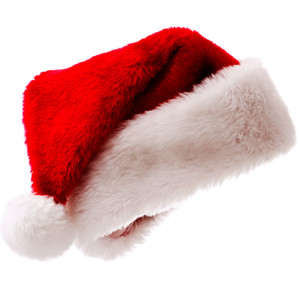 Wholesale Christmas Cosplay Hat Santa Short Plush Merry Christmas Hat Adult Red Santa Xmas Hat cap KKA7528