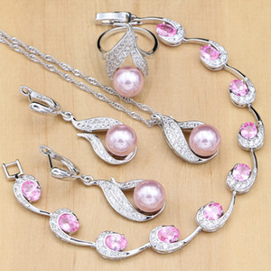 Silver 925 Bridal Jewelry Sets Pink Pearls Beads For Women Wedding Earrings Pendant Ring  Zircon Bracelet Necklace Set