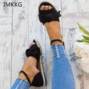 Wholesale Women Sandals Plus Size Flat Sandals Fashion Bowknot Summer Shoes Women Peep Toe Casual Shoes Buckle Strap Sandales m127