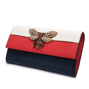 Wholesale 2019 Hot Sale Women Designer Long Genuine Leather Wallet Luxury Female Brands Tri-color Purse Mini Wallet Bee Purse With Gift Box