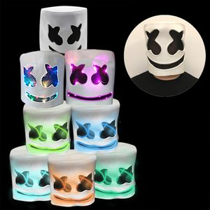 Wholesale Marshmello DJ Cosplay LED Helmet Party Props Halloween Gift Breathable Headgear Adult Men Women Funny LED Night Light Mask Cap DH1164 T03