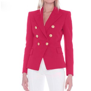 Wholesale New Designer Blazer Jacket Women s Metal Lion Buttons Double Breasted Blazer Outer Coat Size S XXL Rose Red
