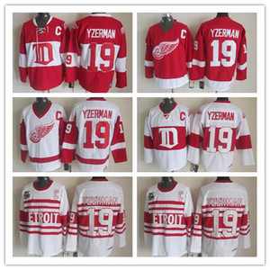 blanco parche rojo c al por mayor-Mens Vintage CCM Detroit Red Wings Steve Yzerman Camisetas de hockey Vintage Winter Classic Rojo Blanco Steve Yzerman C Patch Jerseys
