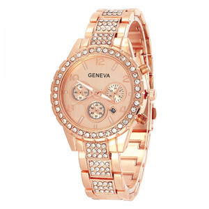 Wholesale luxury unisex mens women geneva alloy metal steel diamond calendar date watches hot male female leisure quartz wrist watches