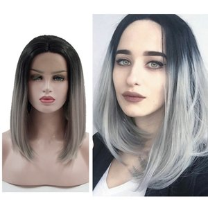 Wholesale Short Bob Ombre Gray Lace Front Wigs Dark Roots Inch Synthetic Lace Wigs Silver Grey Short Wavy Curly Wig for Women Girls