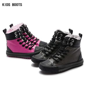 Children Warm Sneakers For Girl Baby Shoes New Winter Fleece 2019 High Top PU Toddler Boy Shoe Kids Hiking Boots on Sale