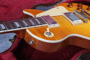Wholesale in stock 1959 r9 honey burst LP style standard best tiger fire electric guitar free shipping!