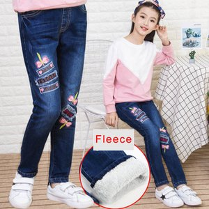 Wholesale Teenage Girls Denim Jeans 2018 Autumn Winter Kids Cotton Elastic Pants Leggings Fleece Thicken Warm Embroidered Jeans 3-12 Years