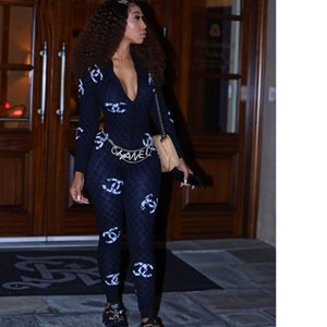 Wholesale Women Brand Designer Jumpsuits Rompers One Piece Pants Slim Legging Sexy Autumn Winter Womens Clothing Klw7098