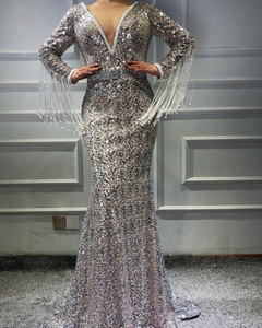 Sequins Mermaid Evening Dresses Crystal V Neck Long Sleeves Prom Gowns With Tassels Luxury Sequins Sweep Train Formal Party Dress on Sale