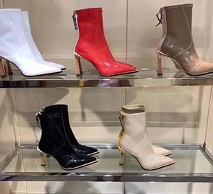 Wholesale 2019 Hot Sale Wedges Knee high Women Boots Pointed Toe F Brand Design Mixed Color Leather Heel Long Boots European Style Fashion Show f4