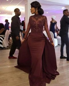 Wholesale High Collar African Evening Dresses with Applique Beaded Long Sleeves Prom Dresses with Overskirts Mermaid Mother of the Bride Gowns