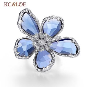 Wholesale big crystal flower ring for sale - Group buy Kcaloe Luxury Blue Transparent Crystal Big Flowers Rings For Women Rhinestone Wedding Engagement Ring Fashion Jewelry Anel J190714