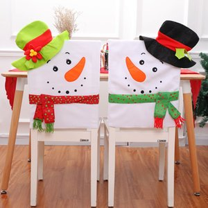 Wholesale 1 Christmas Chair Covers Santa Claus Red Hat Chair Back Cover for Home Party Holiday Christmas Dinner Table Decor