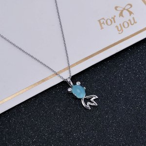 Wholesale New Style S925 Sterling Silver Necklace Crystal Small Goldfish Pendant Female Clavicle Necklace Fashion Original Simple Jewelry