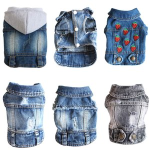Wholesale cowboy outfits for sale - Group buy XS XL Denim Dog Clothes Cowboy Pet Dog Coat Puppy Clothing For Small Dogs Jeans Jacket Vest Coat Puppy Outfits Cat Clothes