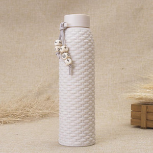 Wholesale High Quality Similar Rattan Fashion Double Layer Insulated Gift Cup Student Portable Water Bottles Big Capacity Outdoor Use Glass Cup DH0034