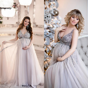 Wholesale 2019 Sexy Sequin Maternity Prom Dresses Baby Shower Gowns with Tulle Skirt A line Sleeveless V neck Tulle Evening Party Gowns