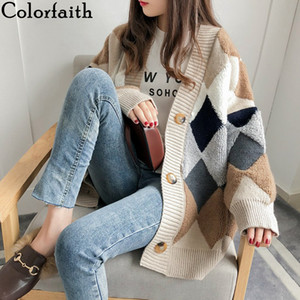 Wholesale Women's Sweaters Autumn Winter fashionable Casual Plaid V-Neck Cardigans Single Breasted Puff Sleeve Loose Women's Knits