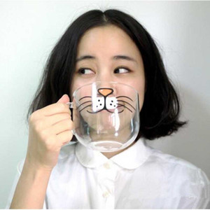 Wholesale coffee mug faces resale online - Novelty Glass Cup Cat Face Mugs Coffee Tea Milk Breakfast Mug Creative Gifts ml
