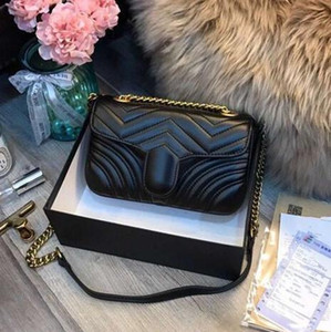 Wholesale 2019 Fashion Women Shoulder Bags original Leather Marmont Heart Style 26cm Gold Chain Women Bag Handbag Tote Bags Messenger Handbags