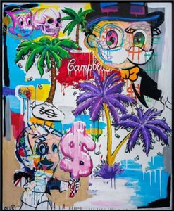 Wholesale palms oil for sale - Group buy Alec Monopoly MIXED RETROSPECTIVE WITH PALM TREES Home Decor Handpainted HD Print Oil Painting On Canvas Wall Art Canvas Pictures