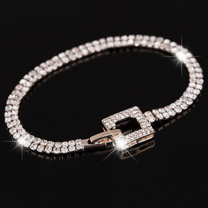 Wholesale rosegold bracelets resale online - Luxury Crystal Bracelets for Women Rosegold Bracelets Bangles Femme Bridal Wedding Jewelry Vintage Bracelet