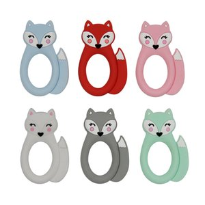 Wholesale Fox Baby Teether Silicone Teething Toy Animal Soothers Baby Molar Training Silicone Beads BPA Free Sensory Baby Chew Teethers